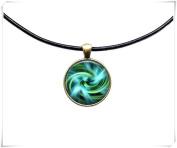 Aqua Swirl necklace Sacred Geometry jewellery Fractal pendant