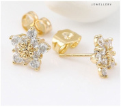 9ct 9K Yellow Gold Plated Ladies Girls White Cubic Zirconia Lovely Stone icey Stud Earrings 10mm Gift