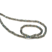 Neerupam Collection Grey with Blue Flash Colour Natural Canadian Labradorite Gemstone Israel Cut Faceted Rondelle Shape Beads 1 Line Loose 25cm Strand