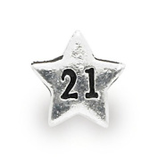 Liberty Charms Silver Plated 21st Star Charm Will Fit Most Charm Bracelets