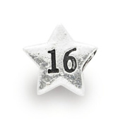 Liberty Charms Silver Plated 16th Star Charm Will Fit Most Charm Bracelets