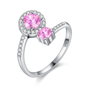 BALANSOHO Elegant Pink CZ Solitaire Wedding Bands 925 Sterling Silver Wrap Promise Rings Resizable