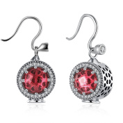 Ilove European DIY Charm 925 Sterling Silver Stud Earrings CZ Silver Red Round Circle Elegant Charm Women
