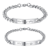 His Queen Her King His and Hers Matching Set Stainless Steel Gourmette Chain Bracelet