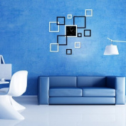 LanLan DIY Acrylic 3D Mirror Wall Decal Wall Sticker Decoration Fashion Modern Design Removable Joinwin. Creative Black and Silver Rectangle Square Modern . Wall Clock Mirror Wall Clock