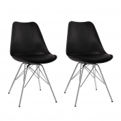 Dining Chairs Set of 2 Black Plastic Chairs with Faux Leather Seat Cushion Retro Design Duhome 0550