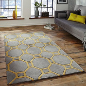 Think Rugs Hong Kong 4338 Hand Tufted Rug, Grey/Yellow, 90 x 150 Cm