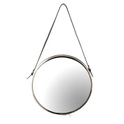 Margit Brandt Black Leather Strapped Nickel Round Cruise Mirror with matching wall hook.