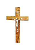 Bethlehem Olive Wood Wall crucifix with metal Silver coated corpus 12cm