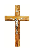 Bethlehem Olive Wood Wall crucifix with metal Silver coated corpus 16cm