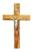 Bethlehem Olive Wood Wall crucifix with metal Silver coated corpus 20cm