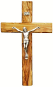 Bethlehem Olive Wood Wall crucifix with metal Silver coated corpus 25cm
