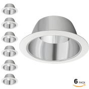 6 Pack 15cm Recessed Can Light Trim with Aluminium Reflector, for 15cm Recessed Can, Detachable Iron Ring Included