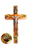 Bethlehem Olive Wood Wall crucifix with 4 capsules filled with elements from Bethlehem - Holy Land 12cm