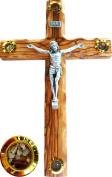 Bethlehem Olive Wood Wall crucifix with 4 capsules filled with elements from Bethlehem - Holy Land 25cm