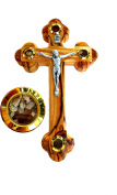Fourteen stations Bethlehem Olive Wood Wall crucifix with 4 capsules filled with elements from Bethlehem - Holy Land 14cm
