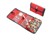 Floral Hanging Travel Toiletry Bag Roll-up Folding Makeup Cosmetic Bags Organiser Large Carry on Case Bath Shower Overnight Wash Bag with Breathable Mesh Pockets and Hook Design