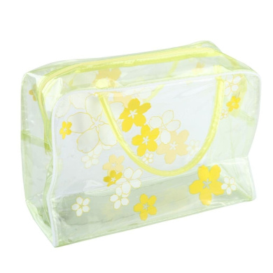 Fheaven New Transparent PVC Flower Waterproof Makeup Toiletry Travel Wash Cosmetic Pouch (yellow)