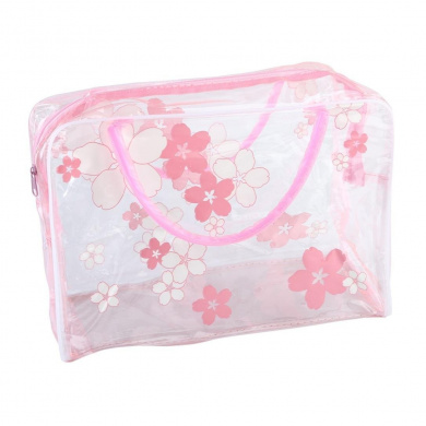 Fheaven New Transparent PVC Flower Waterproof Makeup Toiletry Travel Wash Cosmetic Pouch (hot pink)
