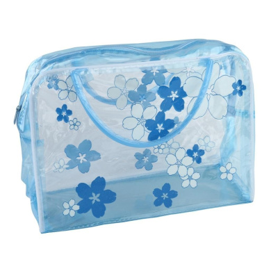 Fheaven New Transparent PVC Flower Waterproof Makeup Toiletry Travel Wash Cosmetic Pouch (blue)