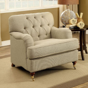 Furniture of America CM6863-CH Laney Beige Chair Not Applicable, 90cm H