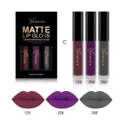 Baomabao 3PCS Sexy Lip Gloss Kit Fashion Waterproof Matte Liquid Lipstick Cosmetic