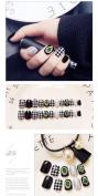 24 Pcs Glitter Rhinestones Decorated Black Grey Square Short Full Cover False Nail with Glue Stickers and Mini File