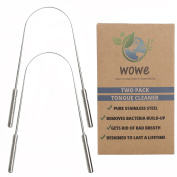 Tongue Scraper Cleaner (2 Pack) - Medical Grade Stainless Steel Metal - Get Rid of Bacteria and Bad Breath - by WowE LifeStyle Products