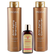 MACVOIL Anti-Ageing Shampoo and Conditioner 900ml Bundle and Moroccan Re-conditioner Oil