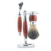 ZY Classy Shaving Set Pure Badger Hair Brush Razor Agate Alloy Stand Barber Tool