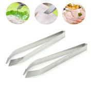 HUELE 2 pcs Fish Bone Tweezers - Non-Slip, Precision Grip - Debone Salmon, Bass, Catfish - Stainless Steel