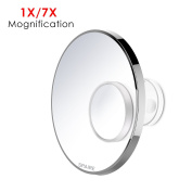 Spaire Bathroom mirror with 7X Mini Magnifying Mirror and Locking Suction Cup 360 Degree Swivel Rotation for Home Hotel and Travel