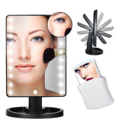 YBeauty Queen 180° Touch Screen 16 LED Light Make Up Cosmetic Vanity Mirror w/ removable 5X Magnifying and Mirror and Free Pop Up 5X Travel Mirror