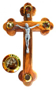 Fourteen stations Bethlehem Olive Wood Wall crucifix with 4 capsules filled with elements from Bethlehem - Holy Land 23cm