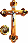 Fourteen stations Bethlehem Olive Wood Wall crucifix with 4 capsules filled with elements from Bethlehem - Holy Land 28cm