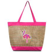 Zodaca Large Beach Tote Bag, Pink Flamingo
