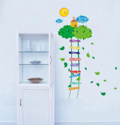 BIBITIME Green Leaves Ladder Height Chart Sun Sky Cloud Birds House Wall Decal Sticker Nursery Growth Charts Colourful Measurement for Kids Room Decor Art Mural (Minimum scale