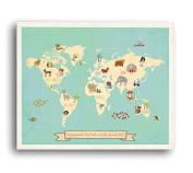 Global Compassion World Map 46cm x 60cm Print, Children's Wall Art Map, Kid's Animal World Map, Nursery Décor, Nature Themed Nursery, Nursery Wall Art, Kid's Art, Kid's