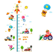 Cute Transportation Pattern Height Growth Chart Wall Sticker Decal Paper for Nursery Kids Bed Room