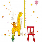 Cute Giraffe Height Growth Chart Wall Sticker Decal for Nursery Kids Room Classroom