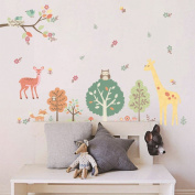 Zooarts Retro Lovely Animals Giraffe Owls Branch Trees Flowers Mural Wall Sticker Removable Vinyl Decals for Kids Room Nursery Decors