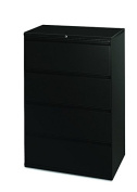 HON Brigade 800 Series Lateral File with 4 Drawers and Radius Pull, 90cm , Black