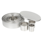 Decdeal 12pcs Stainless Steel Circle Cookie Cutter DIY Cake Decoration Moulds with Storage Box