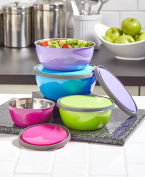 The Lakeside Collection 8-Pc. Colourful Stainless Steel Bowl Set