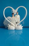Lot of 144 pc White Double Swans Heart Cake Topper for Party,Wedding,Bridal Decor