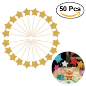 ULTNICE 50pcs Star Cake Toppers Glitter Paper Cake Decoration Cupcake Toppers for Party