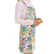 ZTY66 Women Waterproof PVC Floral Printed Apron for Kitchen Cooking, 95 x 58CM
