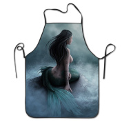 Mermaid Pirate Ship Adjustable Apron For Kitchen BBQ Barbecue Cooking Chef Waitress Great Gift For Wife Ladies Men Boyfriend
