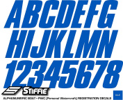 STIFFIE Shift Blue 7.6cm ID Kit Alpha-Numeric Registration Identification Numbers Stickers Decals for Boats & Personal Watercraft