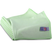 10 Green Microglass Microfibre Cleaning Cloths. Ideal For Smear Free Windows & S
